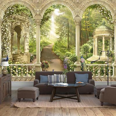 Fototapete Terasse Waldweg Weg Blumen Balkon Säulen Pfau Blüten Blütenmeer Pa