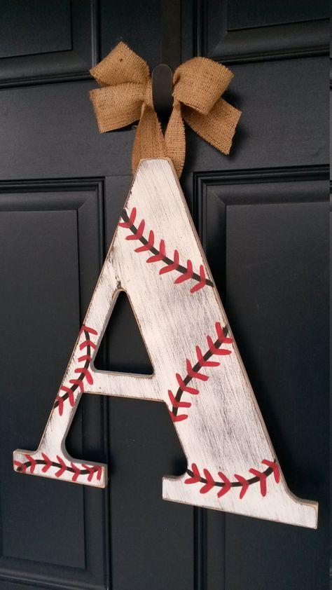 18 inch Chevron letters, Baseball door decor, baseball decor, Custom distressed wood letters for home decor - 18 in wood letters Baseball Crafts Kids, Baseball Letters, Baseball Wreaths, Softball Crafts, Baseball Gifts, Baseball Season, Softball Wreath, Baby Baseball, Baseball Room Decor