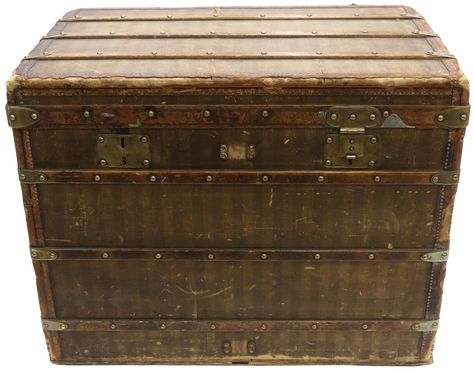 Late 19th Century Louis Vuitton Striped Rayee Canvas Steamer Trunk