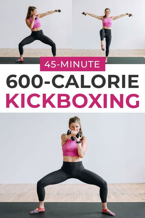 Get a total body BURN with this 45-Minute Cardio KICKBOXING workout! I personally burned over 600 calories during this workout, although every body is different! Jab, punch and kick your way through this upbeat workout class! Cardio Barre, Cardio Kickboxing, Barre Workout, Tabata, Home Boxing Workout, Home Workout Videos, Boxing Hiit Workout, Workout Kettlebell, Workout Fitness