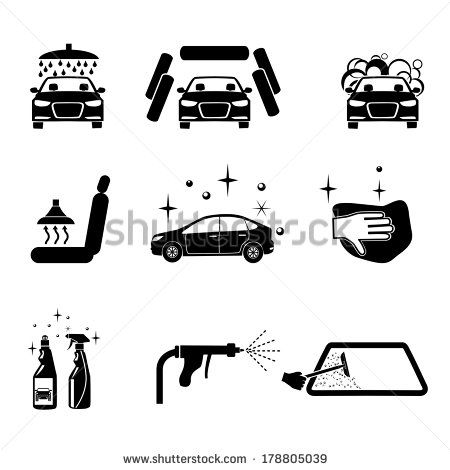 Car Wash Four Variants Car Wash Icons Set Car Wash Car Wash