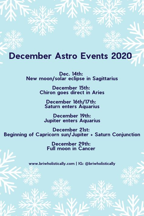 """How many of you have heard the term """"Great Conjunction"""" and have no idea what it means? Check out this post for information on the major transits for this month. Astrology influences us daily! Learn more about how they'll be influencing you and the collective into the new year and beyond! Read more on www.briwholistically.com #astrologypost #greatconjunction #saturninaquarius #jupiterinaquarius #solareclipse #decembertransits"""