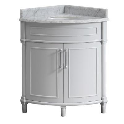 Home Decorators Collection Aberdeen 32 In W X 23 In D Corner Vanity In Grey With Carrara Marble Top With White Sinks Aberdeen 32g The Home Depot Corner Bathroom Vanity Corner
