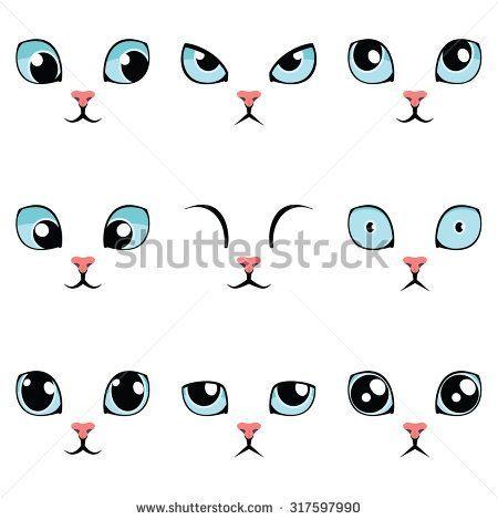 Satz Blaue Katzenaugen Der Lustigen Karikatur Lokalisiert Auf Weiss