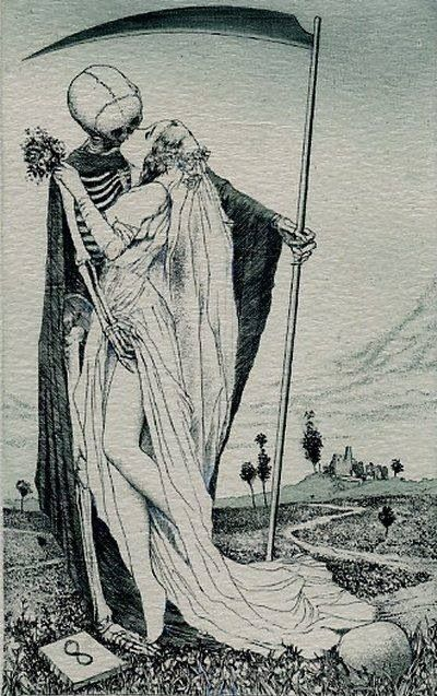 """Artworks by Alphonse Inoue (pseudonym of a Japanese artist, known for his erotic ex libris). I choose those that deal with the macabre motif """"Death and the Maiden"""". Art Macabre, La Danse Macabre, Dance Of Death, Kiss Of Death, Life And Death, Ex Libris, Inspiration Art, Art Inspo, Art Noir"""