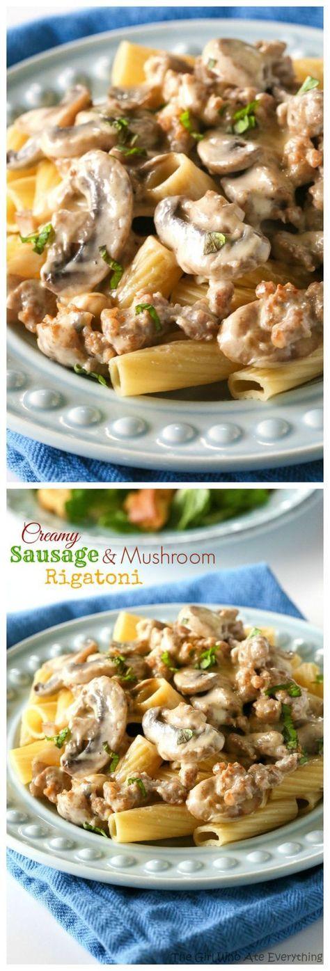 Creamy Sausage and Mushroom Rigatoni