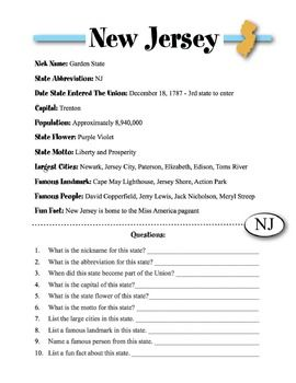New Jersey State Information Worksheet State Abbreviations