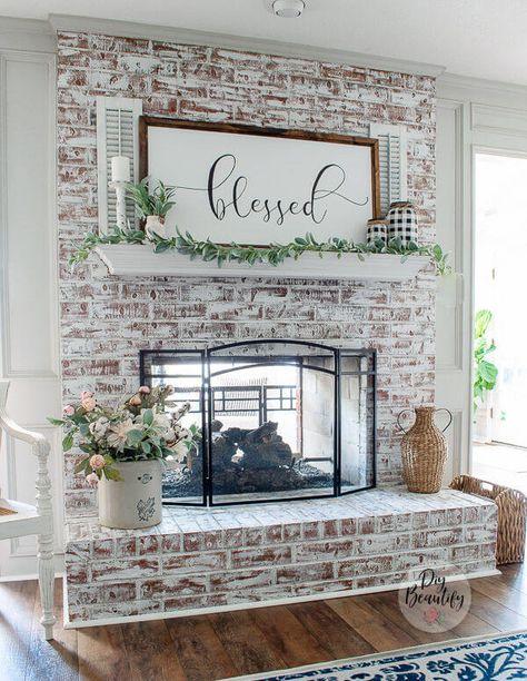 Update Brick Fireplace, Brick Fireplace Wall, White Wash Brick Fireplace, Painted Brick Fireplaces, Faux Brick Walls, Farmhouse Fireplace, Home Fireplace, Fireplace Remodel, Fireplace Design