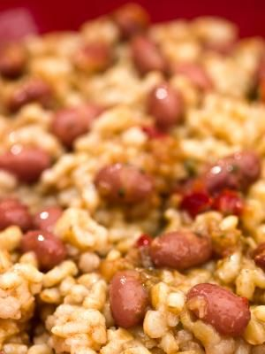Dominican rice and beans- so yummy, fresh and filling! i used half the (balsamic) vinegar and no butter worked out great!