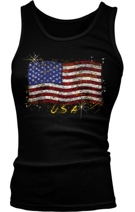 #Merica American Flag America USA Fourth Of July Ladies Beater Tank Top