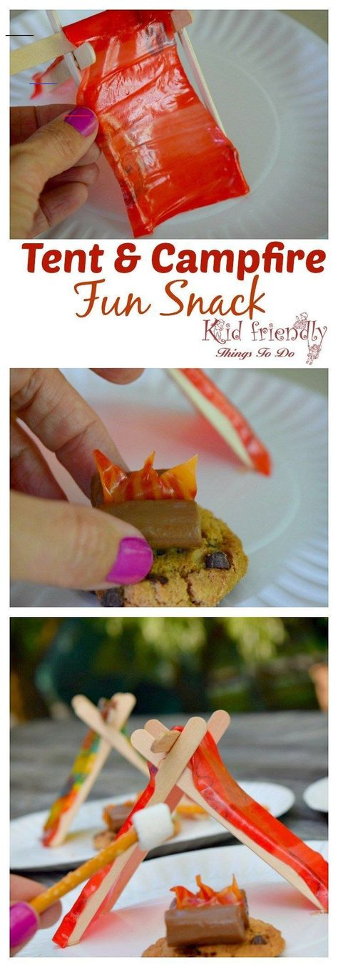 A Tent and Campfire Fun Food Idea for Kids#campfire #food #fun #idea #kids #tent<br>