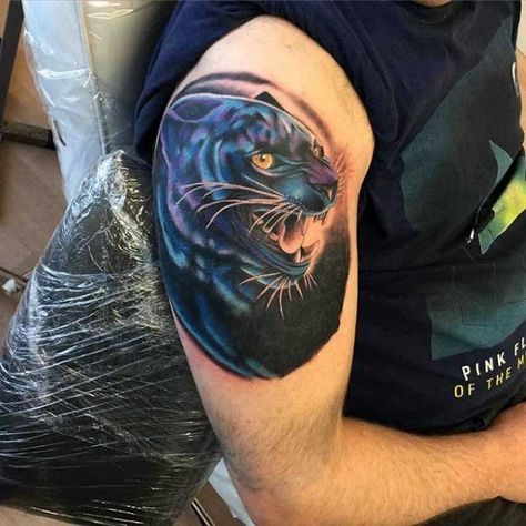 New School Style Colored Arm Tattoo Of Black Panther Panther Tattoo Arm Tattoo Black Panther Tattoo