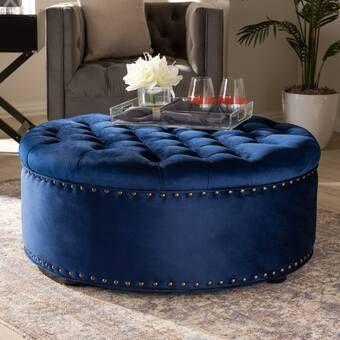 Camas Tufted Storage Ottoman Blue Velvet Fabric Tufted Storage Ottoman Cocktail Ottoman