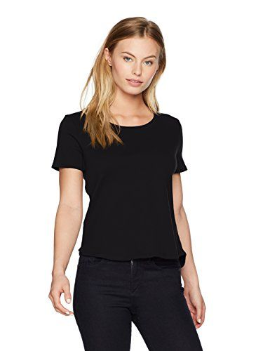 Ruby Rd Womens Petite Size Scoop Neck 1x1 Rib Knit Cotton Short Sleeve Tee