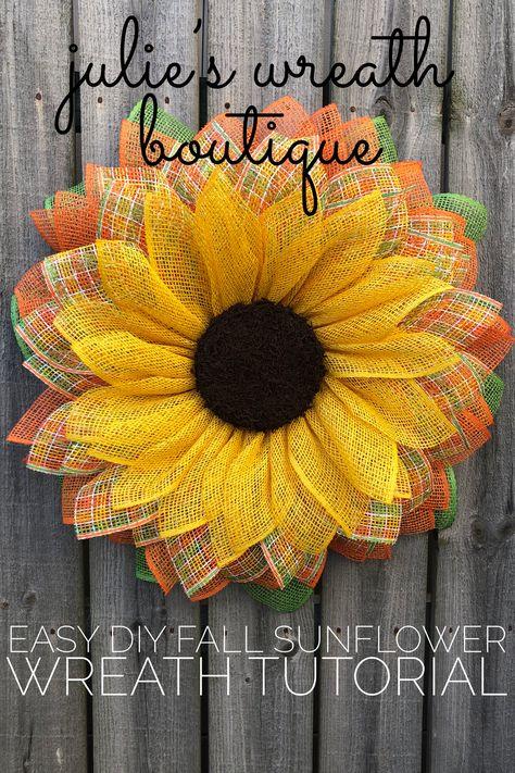 Sunflower Wreath Tutorial - Diy Wreath Tutorial, Front Door Wreath Tutorial, Wreath For Your Front Door, Burlap Sunflower Wreat - Sunflower Burlap Wreaths, Burlap Flowers, Sunflower Door Hanger, Wreath Crafts, Diy Wreath, Wreath Burlap, Wreath Making, Wreath Ideas, Diy Crafts