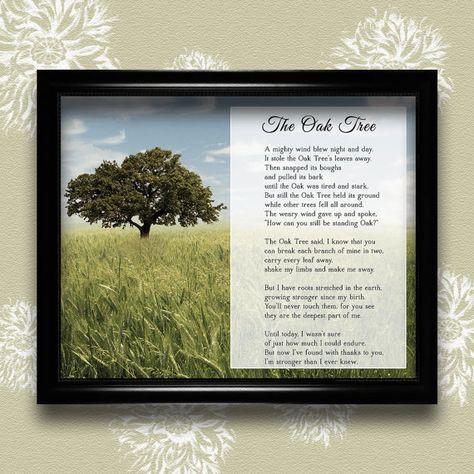 Old Oak Tree Framed Art Tree Poem Old Oak Tree Willow Tree Wedding