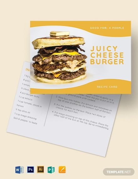 Burger Recipe Card Template Word Doc Psd Apple Mac Pages Illustrator Publisher Recipe Cards Template Recipe Cards Burger Recipes
