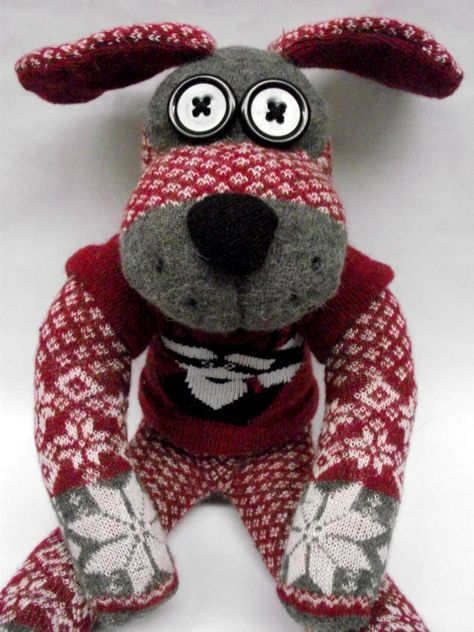 Sock dog, sporting a raccoon jumper.