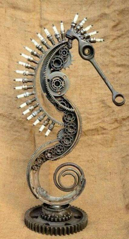 Sea horse sculpture from recycled metal parts. Piece of art - Sea horse sculpture from recycled metal parts. Piece of art Sea horse sculpture from recycled metallic components. Piece of artwork – Sea horse sculp…
