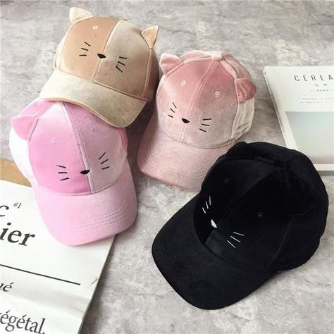 5 Colors Kawaii Neko cat Baseball Cap with pointy kitty ears. Funky Hats, Cool Hats, Stylish Caps, Cute Little Kittens, Cute Caps, Kawaii Clothes, Kawaii Fashion, Online Clothing Stores, Sewing Tutorials