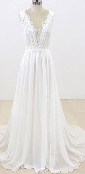 Elegant Unique V Neck Cheap Beach Wedding Dresses Online Wd374