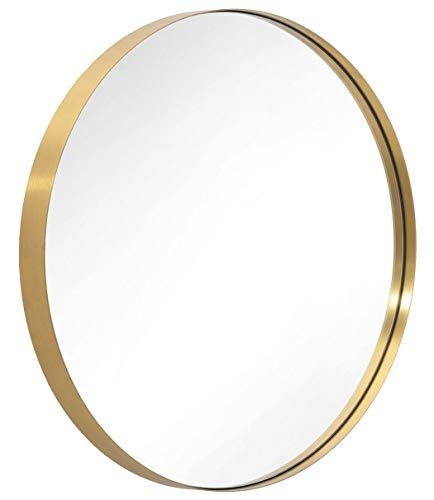 Andy Star 30 Gold Round Mirror For Bathroom Circle Wall Mirror Mounted Modern Brushed Brass Metal Fra In 2020 Round Gold Mirror Gold Circle Mirror Boho Living Room