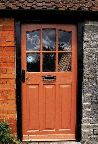 Pin By Deedee S Pin Depot On Cottage Pods R Z Orange Front Doors Yellow House Exterior Front Door Colors