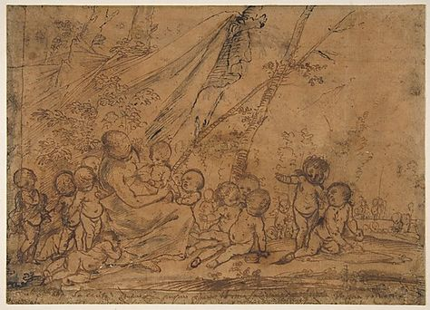 A Seated Female Figure Surrounded by Nude Infants  Pietro Testa (Italian, Lucca 1612–1650 Rome)