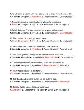 Figurative Language Quiz Matching Multiple Choice Reading