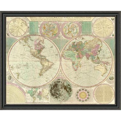 East urban home world map framed print size 15 h x 44 w x 15 east urban home world map framed print size 15 h x 44 sciox Gallery