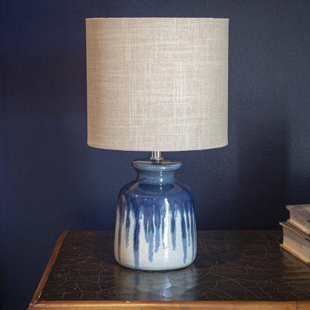 Better Homes Gardens Ceramic Ombre Drip Table Lamp Blue Walmart Com Table Lamp Lamp Geometric Table Lamp