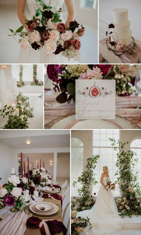 Berries, Figs, and Honey Fall Wedding Inspiration - A PRINCESS INSPIRED BLOG #berryweddinginspiration #fallwedding #fallweddingideas #figsandhoneywedding #burgundywedding #cranberrywedding #greeneryinspiredwedding #fallweddingbouquet #fallweddingcake