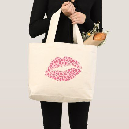 Pink Leopard Kiss Large Tote Bag Zazzle Com Large Tote Tote