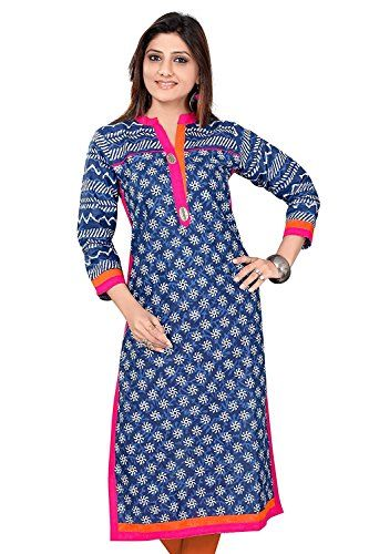 ce3b8416c This Indian Tunic Latest Designer Wear Long Cotton Blue Printed Ethnic  Kurti Kurta Top For Women can be a perfect outfit for every occasion, ...