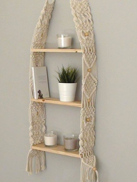 Unique Macrame shelf triple Hanging Shelf Wall Boho Chic | Etsy