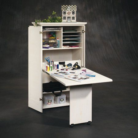 Arts Crafts Sewing Craft Armoire Antique White Desk Craft