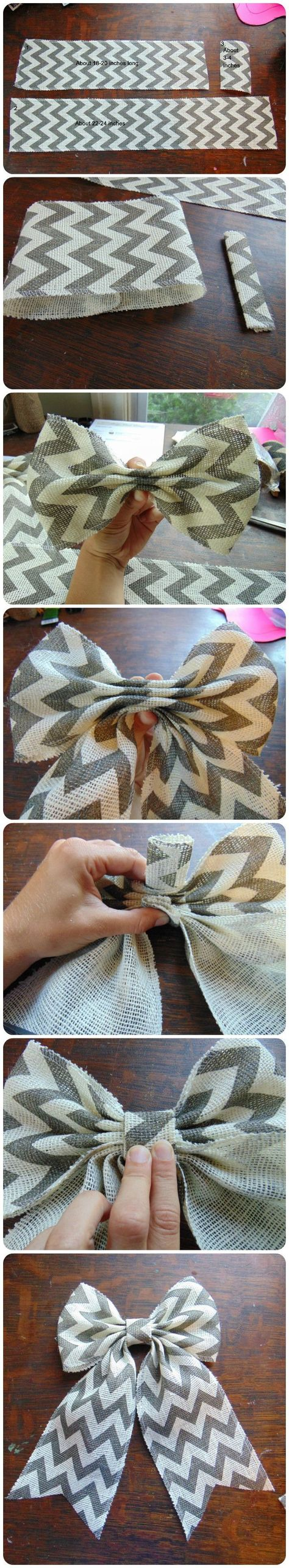 The perfect burlap bow tutorial. Found on bridge Creek Cottage - Diy for HousesFold shorter piece in halfPinned because we need help tying bowsHow to make a big burlap bowFor my green chevron burlap Burlap Projects, Burlap Crafts, Burlap Bows, Craft Projects, Burlap Wreaths, Craft Ideas, Cute Crafts, Crafts To Do, Arts And Crafts