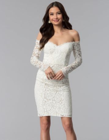 2019 Abiye Modelleri Ve Sik Gece Elbiseleri Beyaz Kisa Omzu Acik Uzun Kol The Dress Elbise Elbiseler