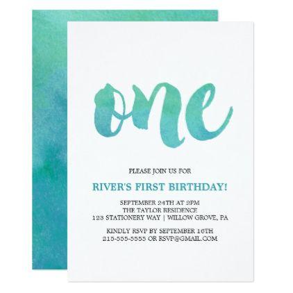 Watercolor Calligraphy First Birthday Invitation Zazzle