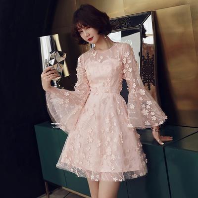 BH162 korean pink flare sleeve Bridesmaid Dress