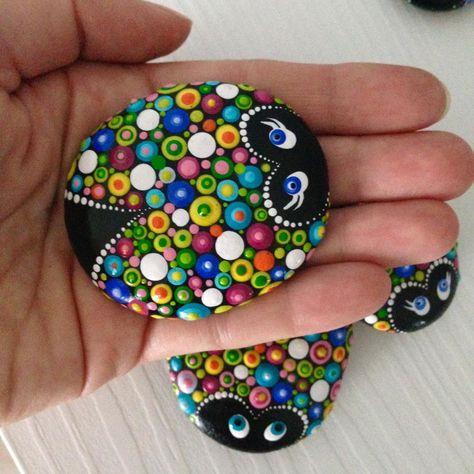 Colourful Dot Art Lucky Friends Charm Ladybug Painted Stone   Etsy