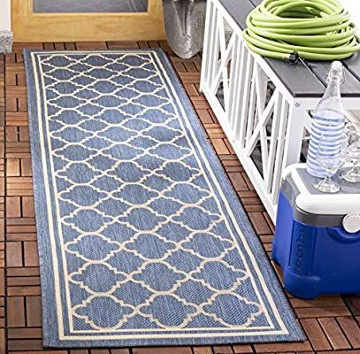 Amazon Com Safavieh Courtyard Collection Cy6918 243 Indoor Outdoor Runner 2 3 X 12 Blue Beige Ki In 2020 Indoor Outdoor Area Rugs Indoor Outdoor Rugs Patio Rugs