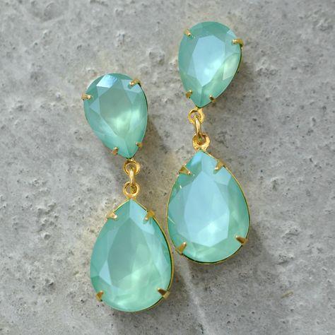 Mint Green Swarovski Crystal Earrings Rhinestone Dangle Pastel Green Bridesmaids Earrings Sea Foam Post Dangle Clip On Pear Earrings Pastel #MintBridesmaids #SwarovskiRhinestone #ClipOnEarrings #MintGreenEarrings #MintRhinestone #MintClipOns #MintWedding #SwarovskiDangles #RhinestoneEarrings #SwarovskiEarrings