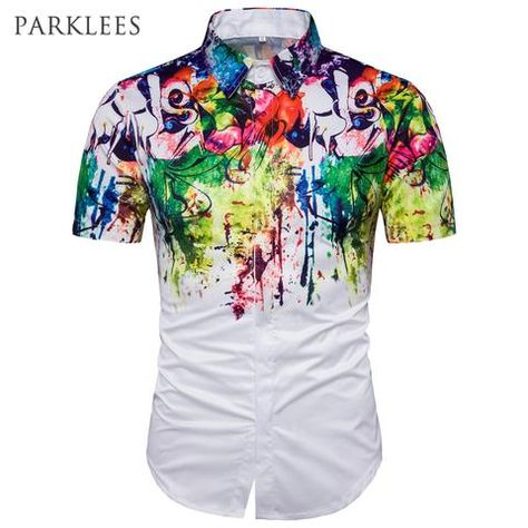 Mens Hawaiian Shirt Chemise Homme Splash Ink Print Short Sleeve Shirt Casual