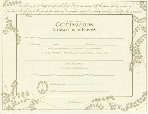 United Church of Christ Confirmation Affirmation of Baptism - baby dedication certificate