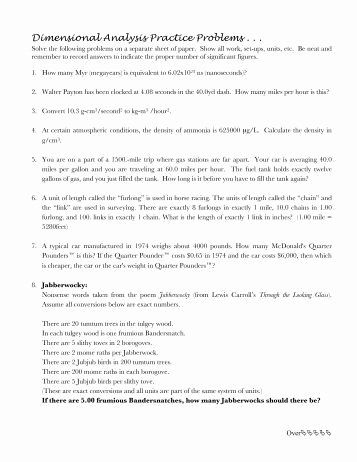 50 Dimensional Analysis Worksheet Answers Chemistry In 2020
