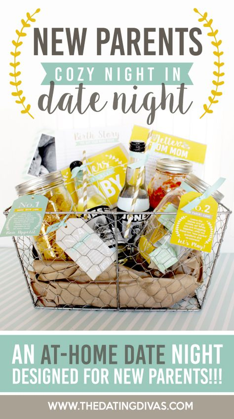 New Parents Cozy Date Night Kit- this would make a darling baby shower gift.  The baby always gets all the presents.  It's fun for the new mom to get something for herself too!
