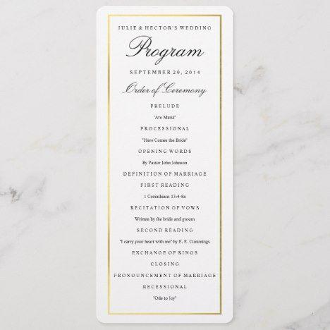 Elegant Gold Border Wedding Program