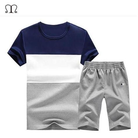 2Pcs Men Ombre Tracksuit Summer Outfit Short Sleeve Tops Shorts Pants Sweatsuit