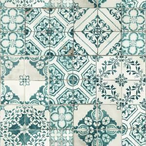 NextWall Moroccan Style Peel and Stick NW30002 Mosaic Tile Wallpaper Blue,